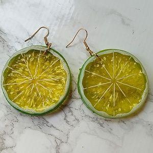 Green white lime lemon fruit slice big earrings
